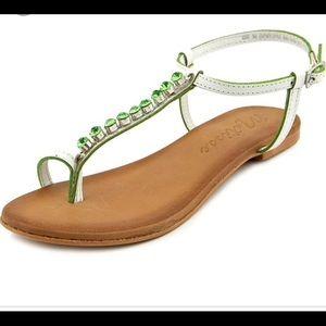 NWT Kent White Sandals w/ Green Embellish-Size 8